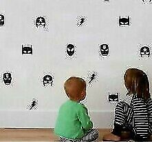 30 Mix Superhero Mask Wall Vinyl Stickers Kids Boy Bedroom Batman Superman Art