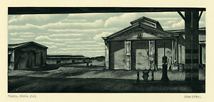 JOHN DEPOL, 'HUDSON RIVER PIER', signed wood engraving, 1968.