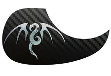 Tribal Dragon Guitarra Acústica De Carbono Negra Pickguard scratchplate, Cromo