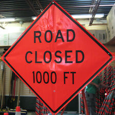 """Road Closed 1,000 ft Sign Flourescent Vinyl With Ribs 48"""" x 48"""""""