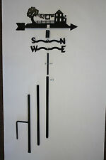 Decorative Wind Vane Weathervane, Amish House with Quilts Metal Steel, 5 ft tall