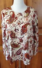 NEW J JILL PLUS SZ 4X Stretch Knit Top Rust Cream Brown Paisley Long Sleeves NWT