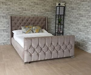 Chenille Wingback Bed Frame Upholstered Chesterfield - Free Delivery