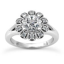Halo Engagement 1.40 Carat VS2/F Round Cut Diamond Ring White Gold