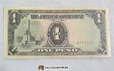 WW II PHILIPPINES JAPANESE GOVERNMENT INVASION 1 PESO NOTE W/ SAFE KEEPING STAMP
