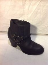 Miss Selfridge Black Ankle Leather Boots Size 4