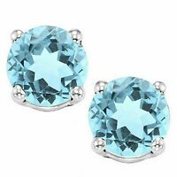 2 ct. Sky Blue Topaz Round Basket Stud Earrings set in Sterling Silver