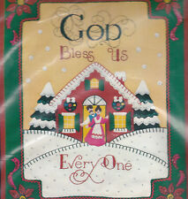 Bucilla Jewel Felt Applique Christmas Panel God Bless Us Everyone Embroidery