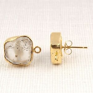 Natural White Crystal Quartz Gold Plated Stud Connect Earrings Making Jewelry