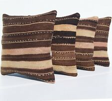 "HAND WOVEN KILIM PILLOW COVERS 16""X16"" SQUARE WOOL TURKISH DECORATIVE AREA RUGS"