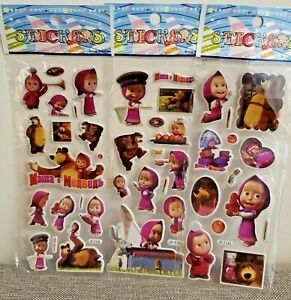 Masha and The Bear Stickers Loot Bag Birthday Party Sticker 10 sheets
