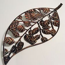 """Copper Leaf - 17"""" Long Wall Decor Many Leaves 3D Art Sculpture with Hanging Hook"""