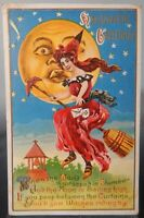 ANTIQUE HALLOWEEN POSTCARD WITCHES BROOM MOON EMBOSSED 1913 POST Edwardian