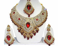 INDIAN BOLLYWOOD BRIDAL & PARTY WEAR JEWELLERY SET RED GOLD NEW - AQ/15