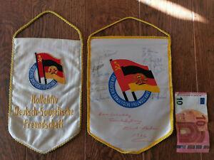 2 Wimpel Kollektiv Deutsch-Sowjetische Freundschaft gestickt + Freundschaftszug