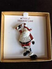 Macy's Holiday Lane Enamel Santa w/Dancing Legs Pin Brooch Christmas