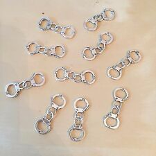 Lot of 10 Silver Plated Handcuff Charms - US Seller - Great For Paracord Jewelry