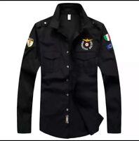 camicia aeronautica militare manica lunga cotone taglia dalla M alla 3XL, 4color