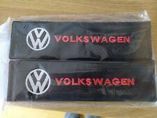 Seat belt pads VW logo padded black carbon look pads