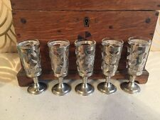 Beautiful Set Of 5 Mexican White Metal Filigree Liquor Glasses