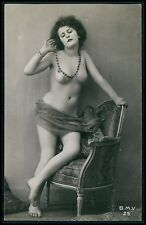 French nude woman posing near chair with necklace c1910s photo postcard BMV 25
