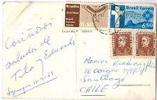 Brazil 1961 Postcard to Santiago Chile - Cataratas do Iguacu