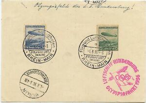 Deutsches Reich Zeppelin Postkarte Olympiafahrt 1936 Oker