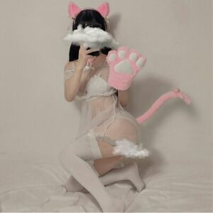 Cat Maid Cosplay Costume Plush Ear Bell Headband Bow Tie Choker Necklace  Gloves