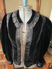 Original Antique Edwardian Victorian Silk Velvet Mourning Jacket