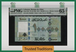 TT PK 95b 2012 LEBANON BANQUE DU LIBAN 100000 LIVRES PMG 65 EPQ GEM UNCIRCULATED