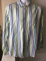 Tommy Bahama Island Modern Fit Men's Shirt Large L Blue White Striped Cotton