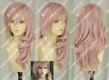 New Women Long Pink Curly Hair Cosplay Final Fantasy 13 Lightning Serah Full Wig