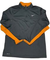 Nike 1/4 Zip Pullover Youth Size XL Dri-Fit Long Sleeve Gray/Orange