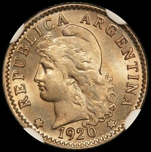 1920 Argentina 5 Centavos Coin - NGC MS 65 - KM# 34 - TOP POP-1