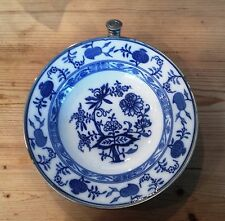 Antique German Warming Plate Blue Onion Flower Pattern Porcelain  Nice Condition