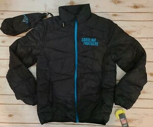 NWT Carolina PANTHERS NFL Black Puffer Jacket & Carry Bag G-III Size Medium