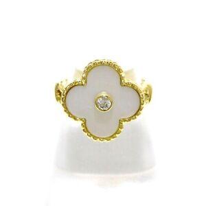 Auth VanCleef & Arpels Vintage Alhambra 18K Yellow Gold Diamond Ring US# 5