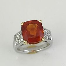 9.65 Ct Huge Cushion Natural Reddish Orange Sapphire & Diamond Ring AGTA , GIA