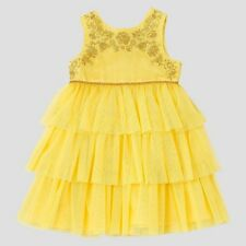 Toddler Girls Beauty And The Beast Empire Dress Rose Yellow Belle Gown 5t NEW
