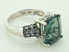 Cubic Zirconia Ring Sz 7 ~83652 Sterling Silver 925 Green Emerald Cut Stone