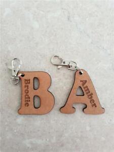 Wood MDF Letter Personalised Key Rings, School Bag Tags, Bag Tag, Lobster Clip