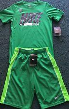 NWT Nike Boys YSM Green/Light Green/Gray BASEBALL Dri-Fit Shorts Set Small