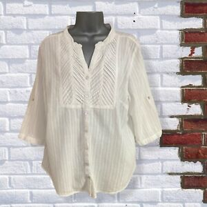 Womens UK 18 White Cotton Collarless 1/2 Sleeve Buttoned Shirt