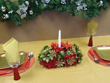 Artificial Christmas Table Centrepiece Poinsettias Roses Berries Holly Xmas Ivy1