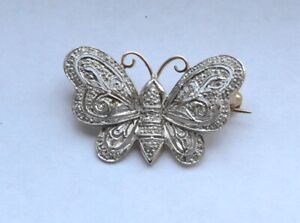 0.45 TCW DIAMOND 14K WHITE YELLOW WHITE  GOLD  BUTTERFLY BROOCH PIN