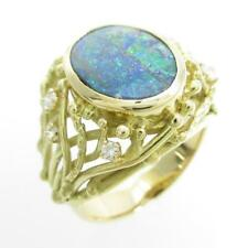 Authentic K18 Yellow Gold Boulder Opal ring  #260-002-691-6316