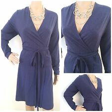 NEW EX M&S NAVY BLUE MARL TIE FRONT CROSSOVER STRETCH DAY DRESS SIZE 18 - 24