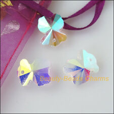 5Pcs White AB Half Bear Faceted Glass Crystal Rondelle Charms Pendants 11x13.5mm
