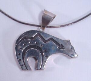 Sterling Silver Tribal Polar Bear Pendant w/ Sterling Necklace 44 Grams