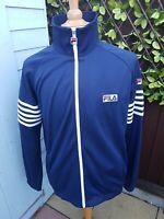 Fila White Line Tracksuit Track Top Jacket Large Blue